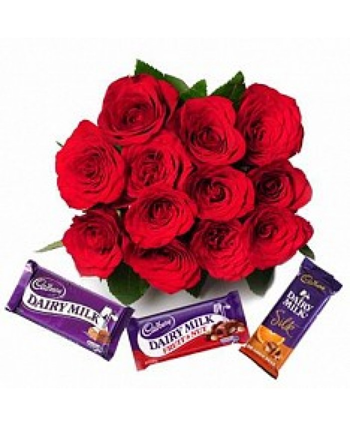 10 red rose with chocolate