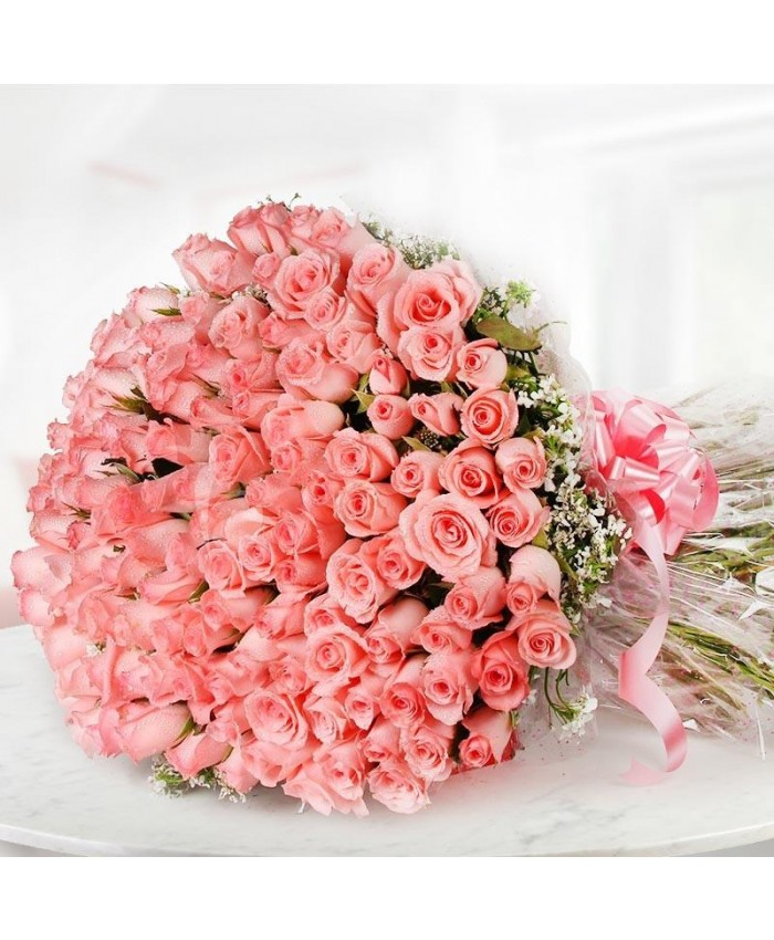 100 pink rose bunch