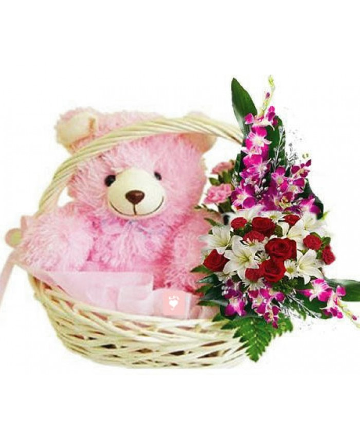lovely pink teddy basket