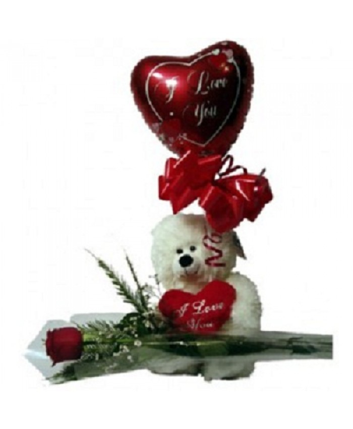 Single Rose with Cute Teddy
